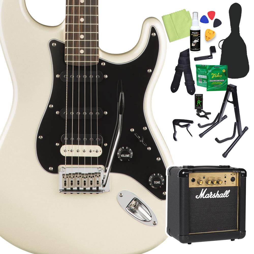 Squier by Fender Contemporary Stratocaster HSS, Pearl White 初心者14点セット 【マーシャルアンプ付】 エレキギター スクワイヤー/スクワイア   B07RB7GHH2