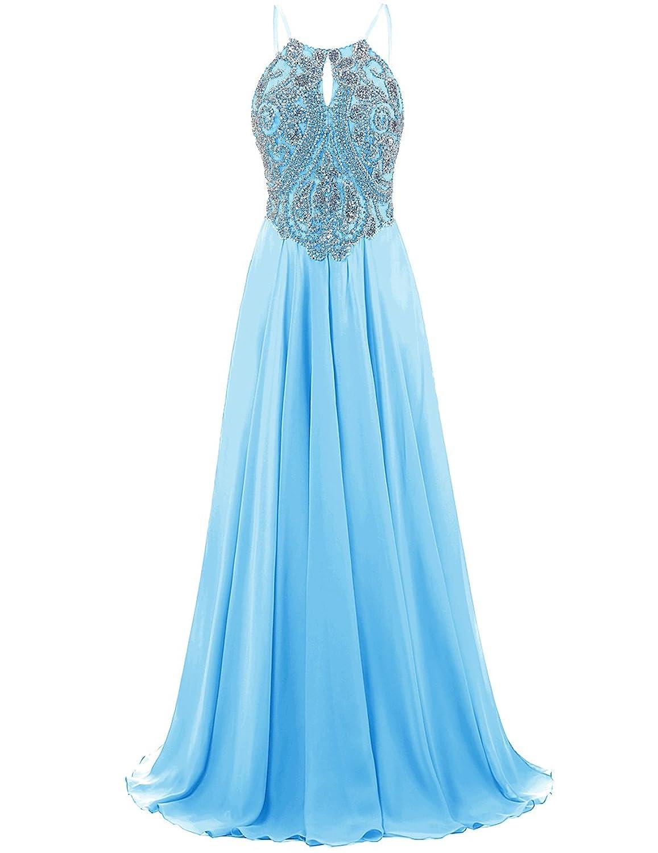 Amazon.com: DRESSTELLS Long Prom Dress Halter Chiffon Dress Beaded ...