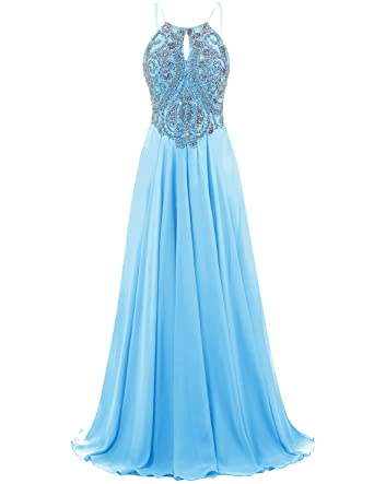 DRESSTELLS Long Prom Dress Halter Chiffon Dress Beaded Evening Party Gown Blue Size 2