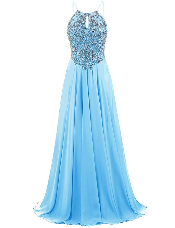57e212d072f Amazon.com  DRESSTELLS Long Prom Dress Halter Chiffon Dress Beaded Evening  Party Gown  Clothing