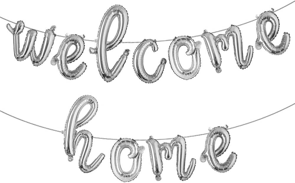 16 inch Welcome Home Balloon Banner Style Balloons Foil Letter Balloon Anniversary Celebration Party Decorations (L Welcome Home Silver)