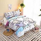 HIGOGOGO Home Textiles 100% Polyester Cute Cat Bedding Set Sheet set Cartoon Duvet Cover Set Super Soft Twin Full Queen Size 4 Piece Duvet Cover Set (Queen, Fitted sheet style)