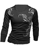 TOOGOO(R) Mens Leisure Long Sleeve Mens Slim Fit Wolf Tattoo Crewneck Casual T Shirt - Black