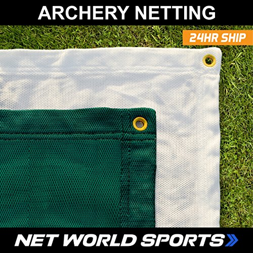(Net World Sports Premium Quality Archery Backstop Nets in Green or White (Green, 10ft x 6ft) )