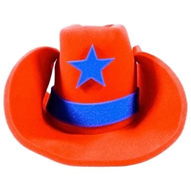 b0154ec715e Amazon.com  Funny Party Hats Huge Cowboy Hat - Funny Cowboy Hat – Costume Cowboy  Hat – Oversize Foam Cowboy Hat Orange  Clothing