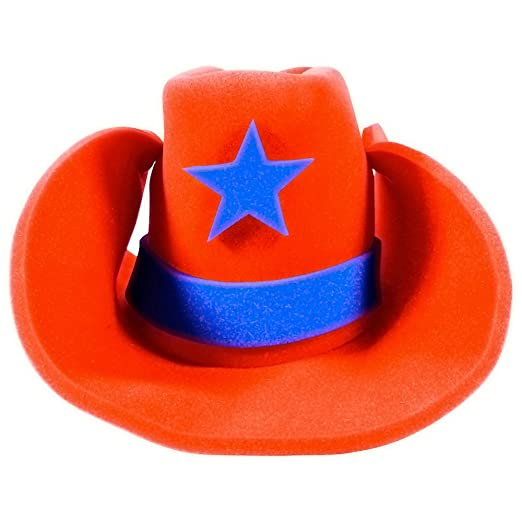 Amazon.com  Funny Party Hats Huge Cowboy Hat - Funny Cowboy Hat – Costume Cowboy  Hat – Oversize Foam Cowboy Hat Orange  Clothing 71cde59a1e19