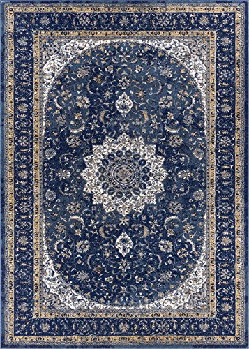 Beige Mahal Rectangle Rug - Well Woven LX-56-8 Luxbury Mahal Traditional Vintage Medallion Oriental Blue Area Rug 9'3