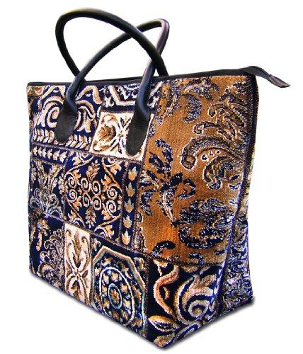 VOYAGER ELITE Applique Navy - Fourre-tout Vintage-Style grand Tapis Sac et large avec des poign'es en cuir et fermeture 'clair