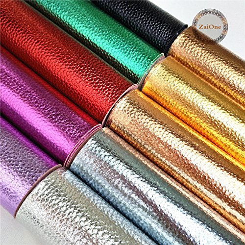 "12"" (20cm x 30cm) Sheet Metallic Leather Lychee Pastel Faux Leatherette Fabric Vinyl Foil Decor Craft for Shoes Bag Sewing Patchwork DIY Bow Craft Applique(10 Colors) ()"
