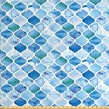 Ambesonne Moroccan Fabric by The Yard, Oriental Style Arabic Mosaic Pattern in Watercolor Paint Retro Style Artwork Print, Decorative Fabric for Upholstery and Home Accents, 2 Yards, Pale Blue