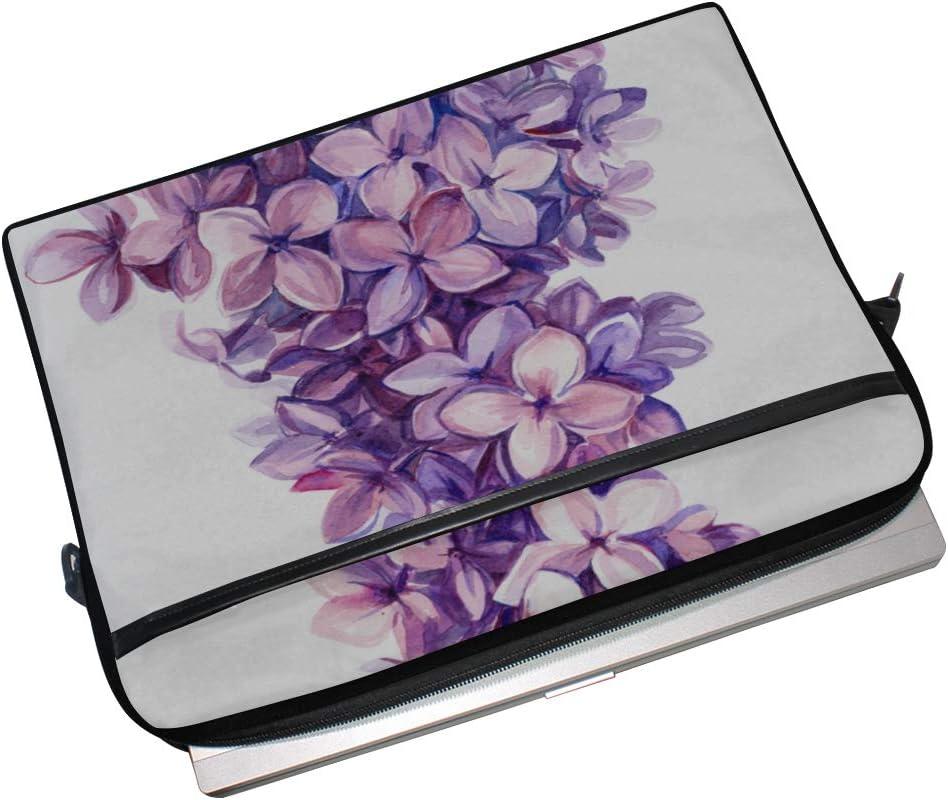 Laptop Bag Hand Painted Lilac Flowers 15-15.4 Inch Laptop Case College Students Business People Offi Briefcase Messenger Shoulder Bag for Men Women