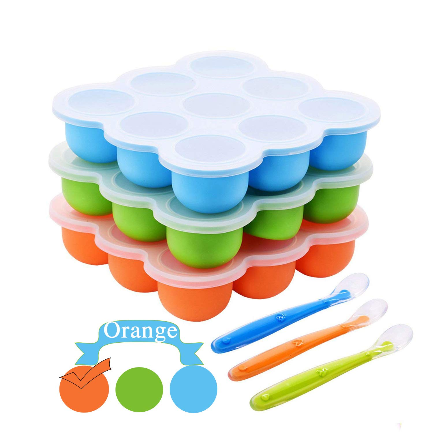 Silicone Food Freezer Trays,Baby Food Storage Containers with Clip-On Lids +Spoon-9x2.5oz BPA Free and FDA Approved Dishwasher Safe(Orange)