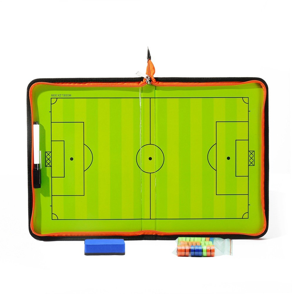 Soccer Coaches Boards, Football Coach Tactics Magnet Board with an Erasable Pen and Zipper, Coaching Strategy Board Kit Equipment Foldable and Portable Coach Tools Empowline
