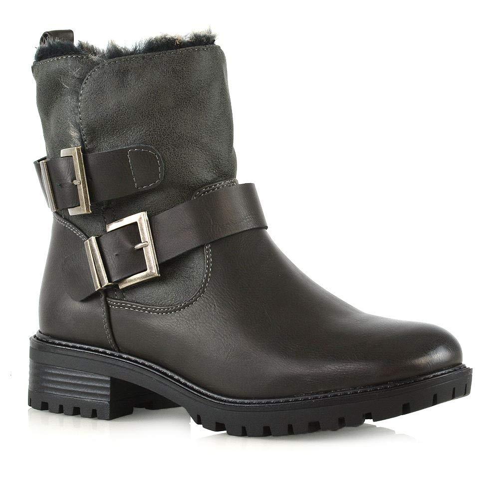 988b1ed8155 Womens Low Block Heel Zip Up Booties Ladies Cleated Sole Biker Ankle Boots  Size