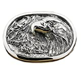 LINSION Gothic Eagle Oval Belt Buckle 925 Sterling Silver Mens Biker Jewerly 9C007