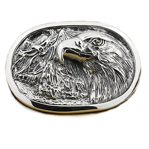 LINSION Gothic Eagle Oval Belt Buckle 925 Sterling Silver Mens Biker Jewerly 9C007 by LINSION