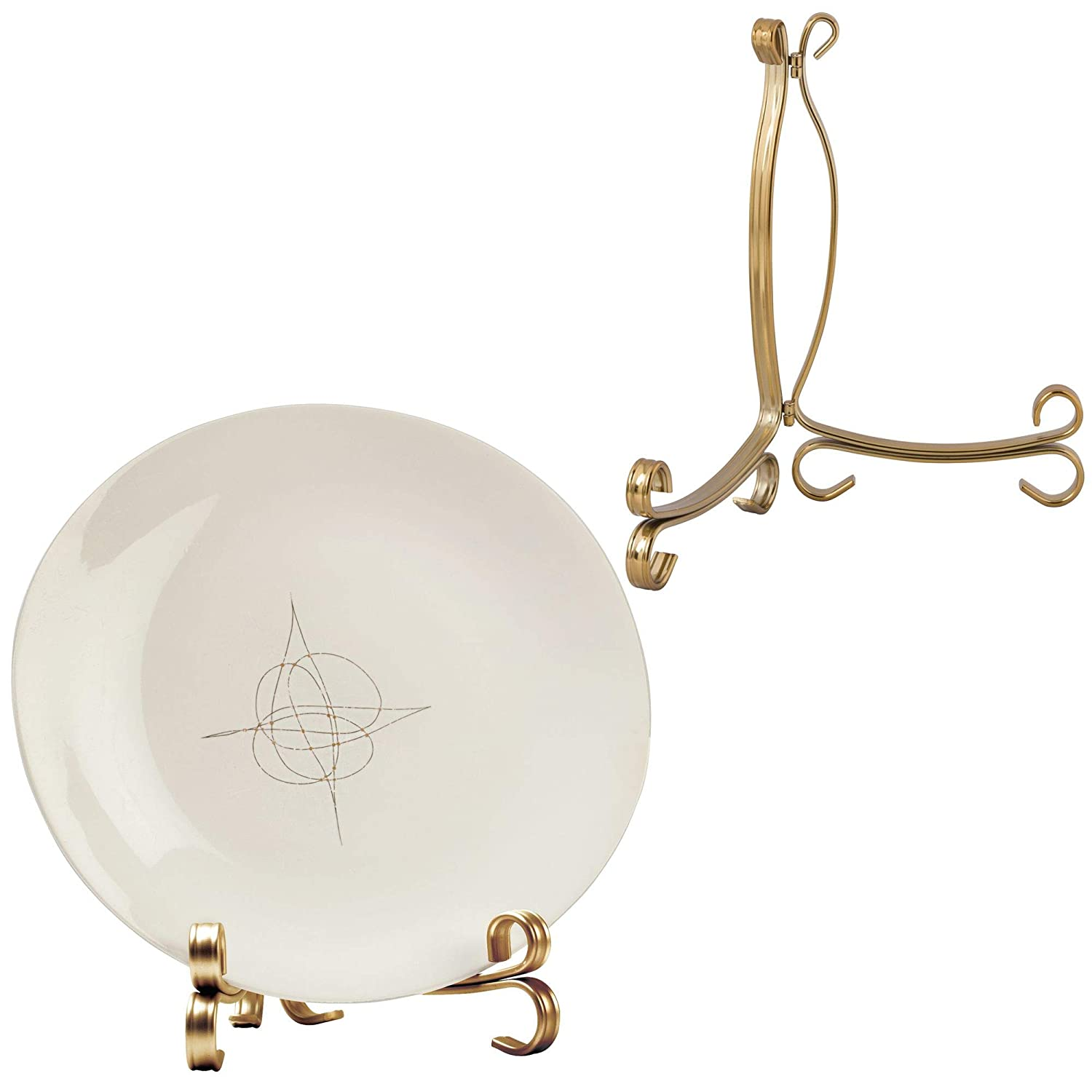 mDesign Easel Holders Cookbooks, China Plates, Diplomas - Pack of 2, Large, Aged Brass MetroDecor 3887MDHS