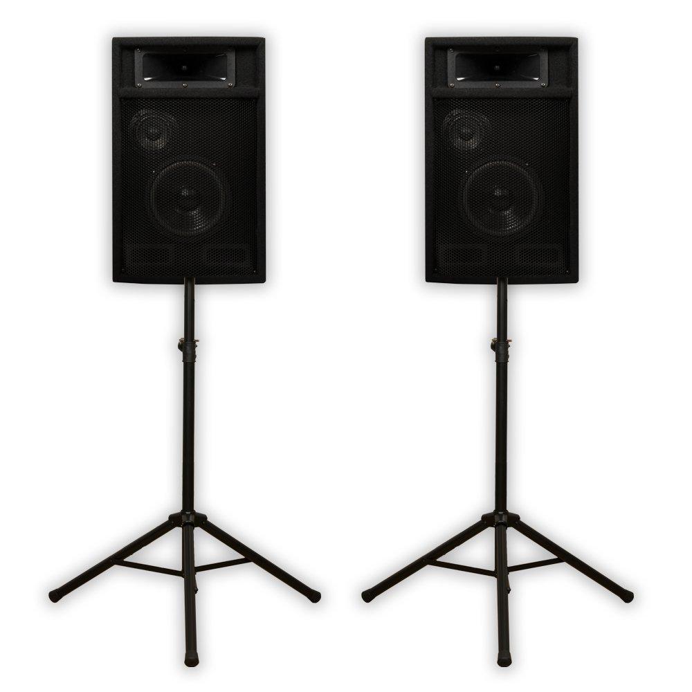 "Acoustic Audio PA-365X Passive 6.5"" DJ Speakers and Stands PA Karaoke 3-Way Studio Home Audio"