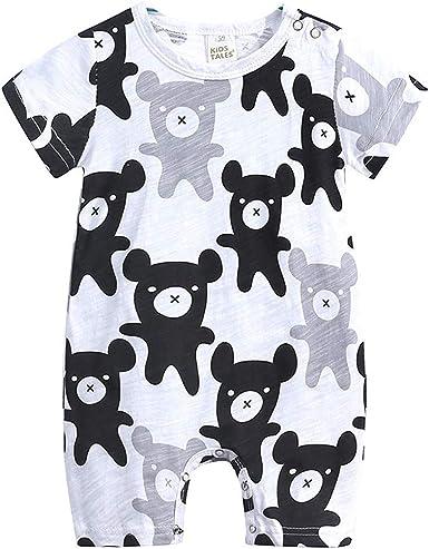 Cuekondy Newborn Toddler Baby Girl Boy Kids Cute Letter Elephant Printed Romper Bodysuit Summer Clothes 1-4 Years Old