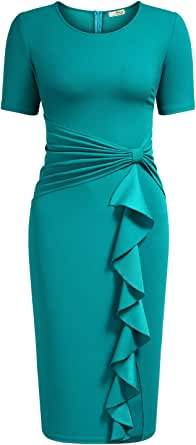AISIZE Women's 50s Vintage Ruffle Draped Short Sleeve Bodycon Cocktail Knee Dress