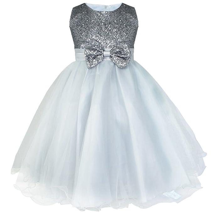 IEFIEL Vestido Fiesta Boda Dama de Honor Cumpleaños Niña Vestido Princesa Traje de Ceremonia Elegante Vestido Largo con Lentejuelas Tutú 2-14 Años