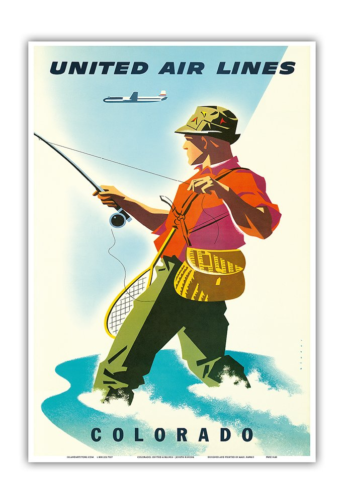 Fisherman Master Art Print Colorado 9in x 12in Fly Fishing Vintage Airline Travel Poster by Joseph Binder c.1950s United Air Lines