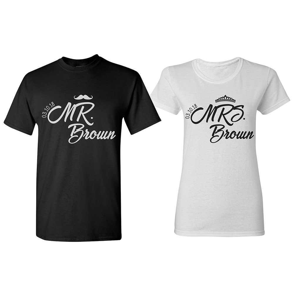 1cb3cb01d2 Personalized Couple T-Shirt Set Customized Wedding Honeymoon Shirts | PF#1  | Amazon.com
