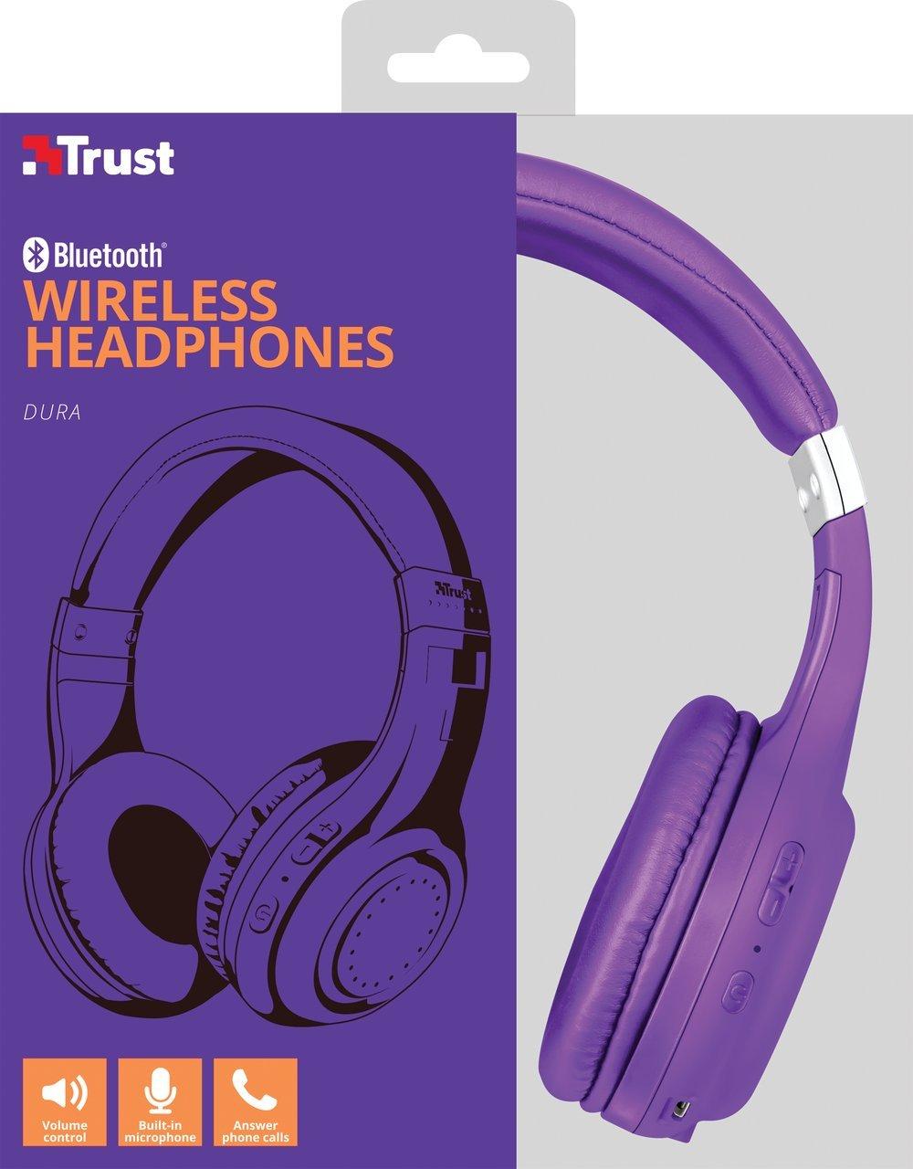 Trust Urban Dura - Auriculares inalámbricos con tecnología Bluetooth, para Llamadas telefónicas y música, Color Violeta: Amazon.es: Electrónica