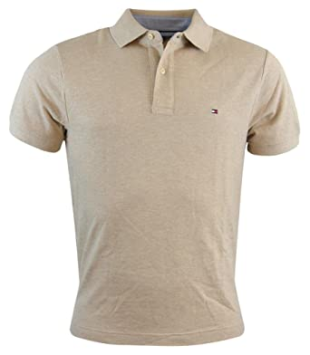 03051e66d32 Tommy Hilfiger Men s Classic Fit Solid Color Short Sleeve Logo Polo Shirt -  XS - Beige