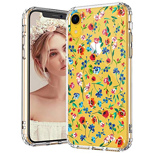 MOSNOVO iPhone XR Case, iPhone XR Case Clear, Wildflower Floral Flower Pattern Clear Design Transparent Plastic Hard Back Case with Soft TPU Bumper Protective Case Cover for iPhone - Soft Pattern Plastic Case