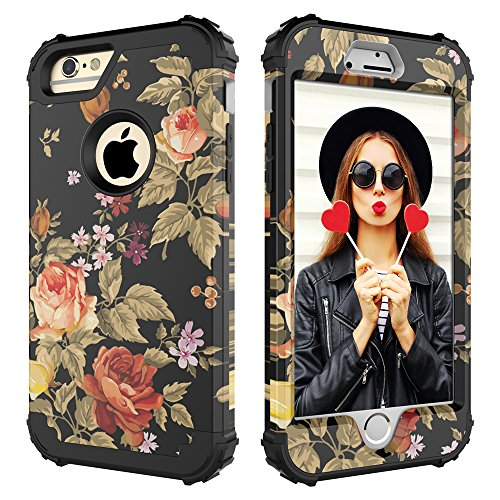 Digital Hutty 3 in 1 Shockproof Heavy Duty Full-Body Protective Cover for Apple iPhone 6,iPhone 6S Flower