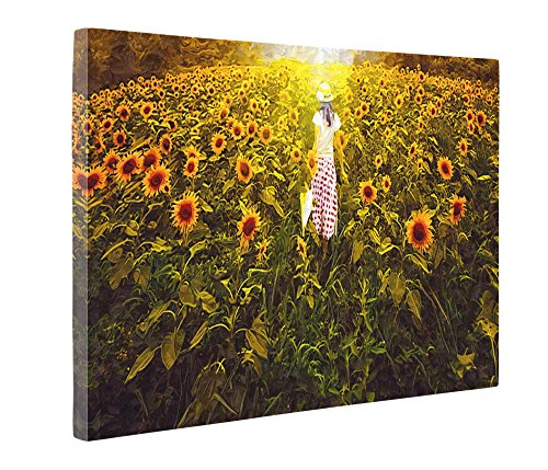 Niwo ART (TM) - Girl in Sunflower Field - Ballet Dancing Series. Modern Abstract Oil Painting Reproduction. Giclee Canvas Prints Wall Art for Home Decor, Stretched and Framed Ready to Hang