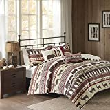 6pc Red White Stripe King/Cal King Duvet Cover Set, Lodge Animal Themed Bedding, Cabin Country Tartan Pattern Cottage Woods Bears Deer Pine Trees Horizontal Diamond Patterns, Polyester