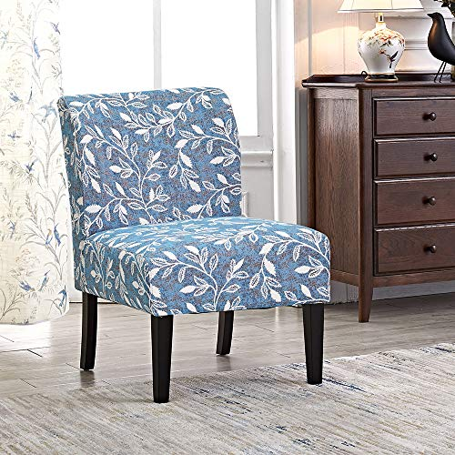 Modern Accent Chair Set of 2 Blue Floral Armless Chairs Stripes Polyester Fabric Upholstered Decor Furniture Living Room Side with Solid Wood Legs Florals