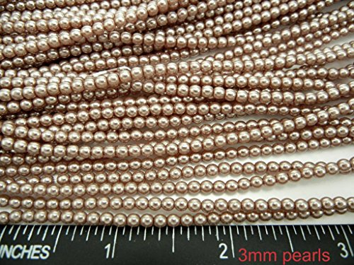 (Czech Round Glass Imitation Pearls, 600pcs (4x150pcs) of 3mm Light Brown Pearl)