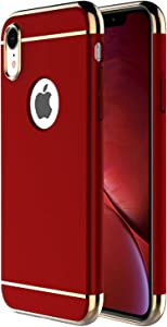 iPhone XR Case,RORSOU 3 in 1 Ultra Thin and Slim Hard Case Coated Non Slip Matte Surface with Electroplate Frame for Apple iPhone XR (6.1