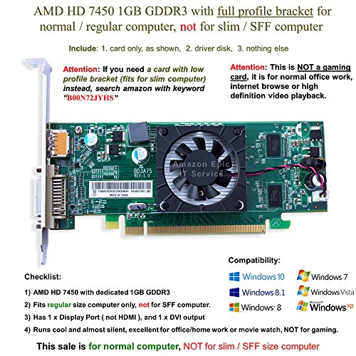AMD Radeon HD 7450 1GB/1024MB low profile graphics card (full size bracket), fits normal size computer only by AMD