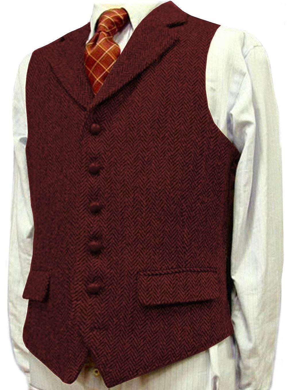 Mens Notch Lapel Herringbone Tweed Wool Casual Suit Vest Slim Fit Waistcoat for Wedding Groomsmen