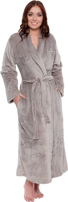Soft Plush Comfy Long Robe Silver Lilly Womens Full Length Luxury Long Bathrobe Sizes Small - Plus Size XXL