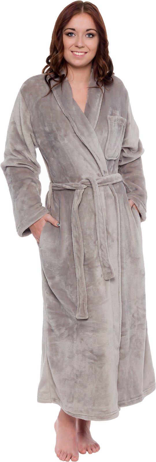 Silver Lilly Women's Full Length Luxury Long Bathrobe - Soft Plush Comfy Long Robe (Sizes Small - Plus Size XXL) (Light Grey, Small/Medium) by Silver Lilly