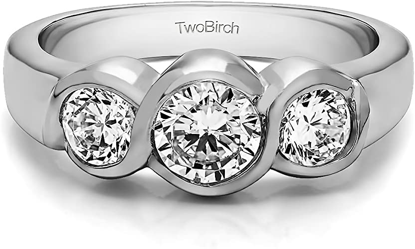 Women 10mm Platinum Plated Silver 0.5ct CZ Bezel Bypass Engagement Ring