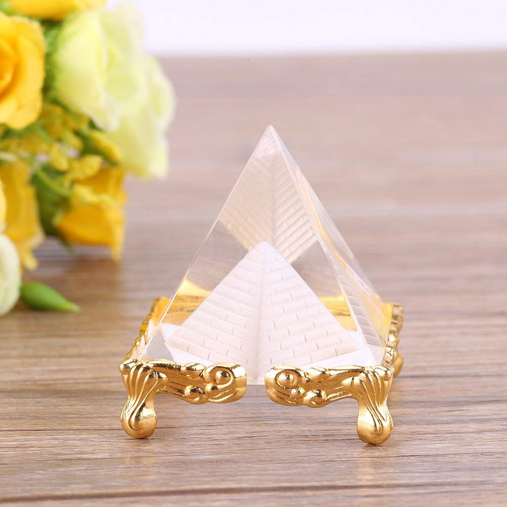 Petrichor 2.3 inches Crystal Feng Shui Crafts Pyramid with Gold Stand for Prosperity, Positive Energy & Good Luck | Decoration & Gifts