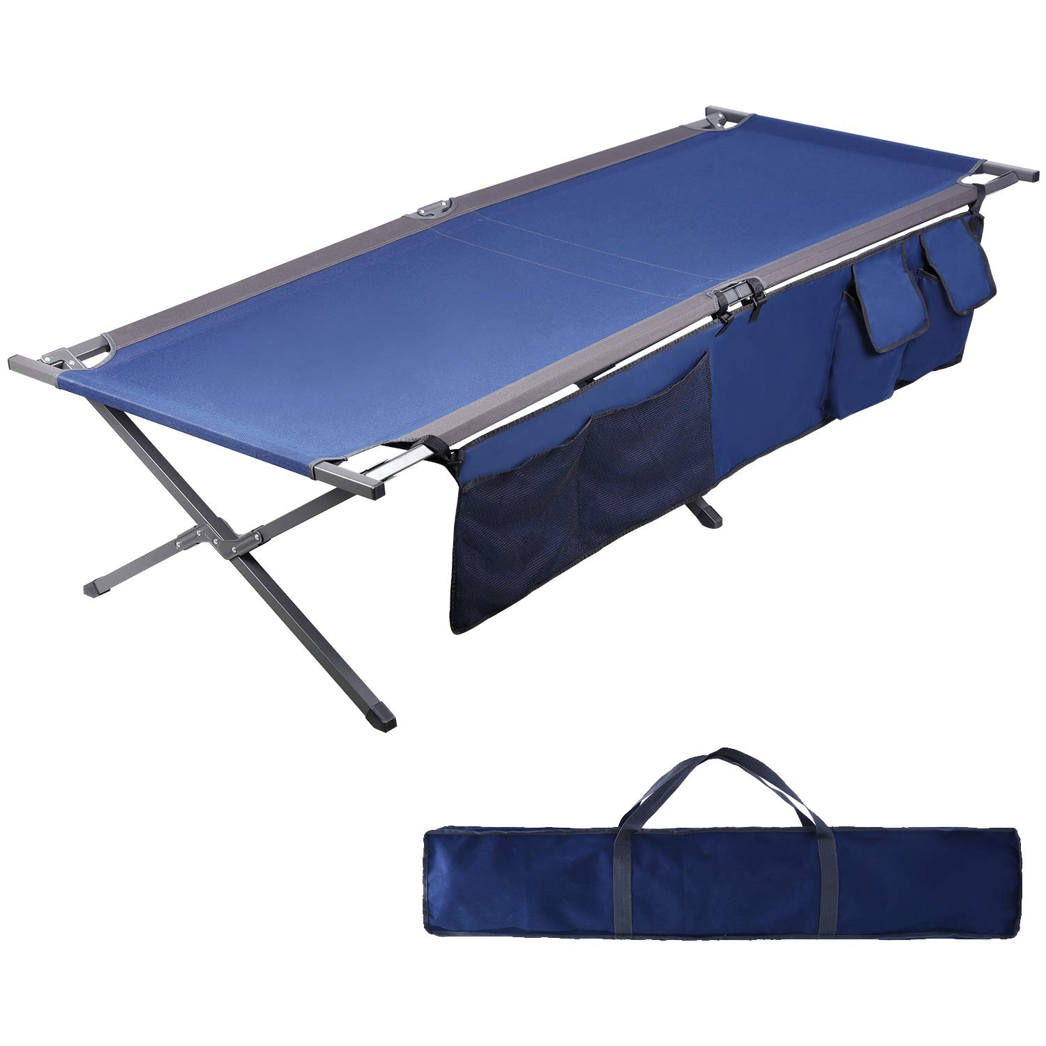 Carry Bag and Side Pockets Included PORTAL Folding Portable Camping Cot 83 XL Pack-Away Tent Sleeping Cot Bed with Side Pockets