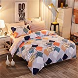 Bedding Duvet Cover Sets Cotton Home Collection Decor For Adult Children Kids Boys Girls Teen Dorm 4Pcs Quilt Cover×1,Flat Sheet×1,Pillowcases×2 Wedding Thanksgiving Christmas Birthday Gift,Full 180×220Cm