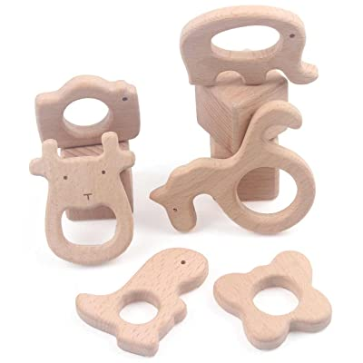 Wooden Teething Rings Set of 6 DIY Teether Toys for Baby Rattle Organic Animals Shape 3 Inch, Camera Cow Dinosaur Elephant Seahorse Butterfly : Baby