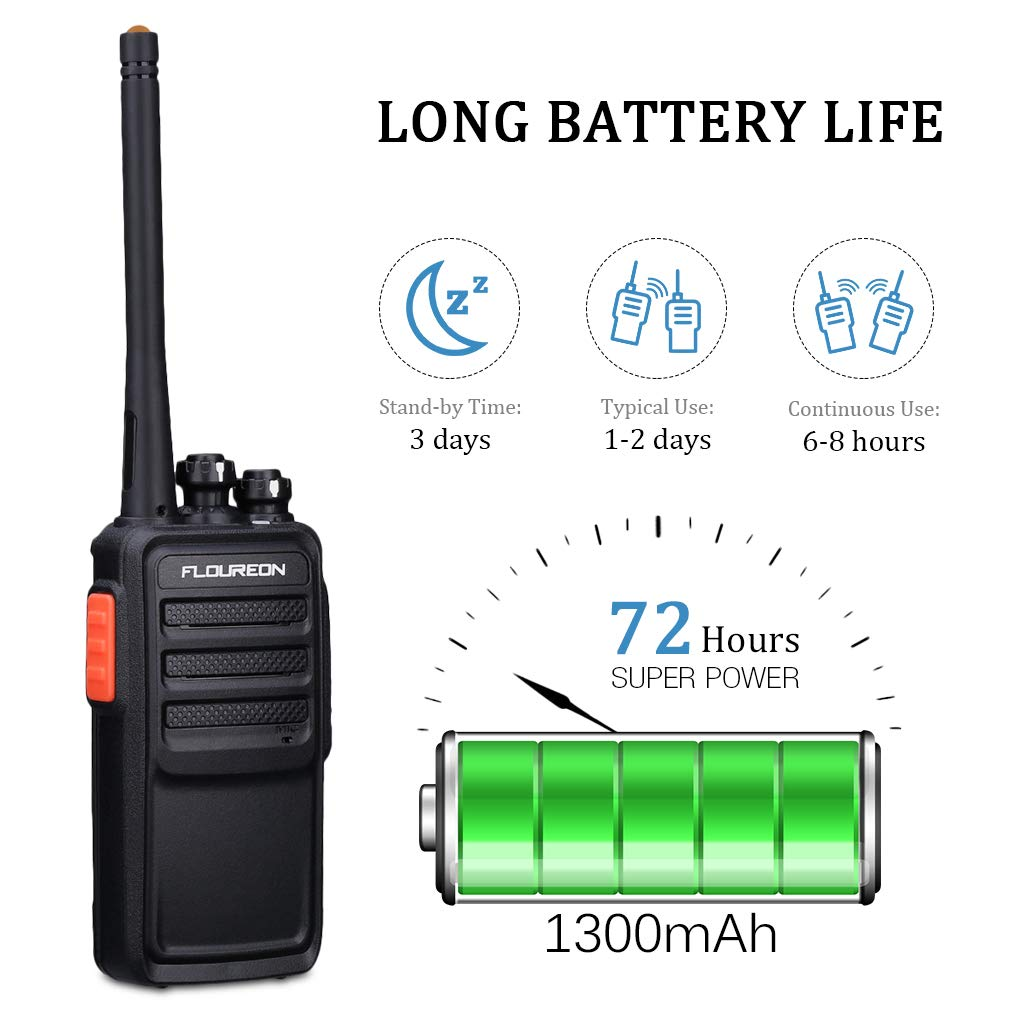 FLOUREON Rechargeable 16 Channel WalkieTalkies PMR 446MHZ License-free Two Way Radio Handheld Transceiver Voice Prompt long Range Interphone Scan TOT with LED Light Earpieces Black 2 Pack