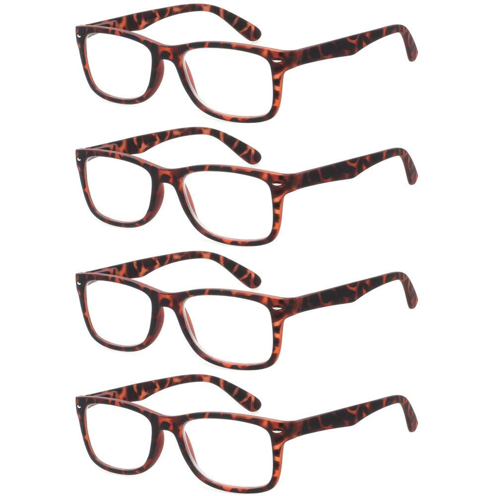 Reading Glasses 4 Pack Fashion Readers Quality Spring Hinge Glasses for Reading for Men and Women (4Tortoise, 3.0) by Kerecsen