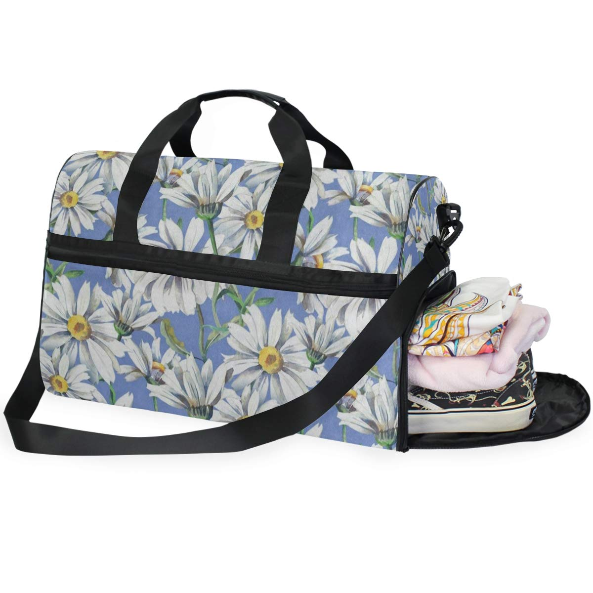 Travel Tote Luggage Weekender Duffle Bag Colored Flower Floral Large Canvas shoulder bag with Shoe Compartment