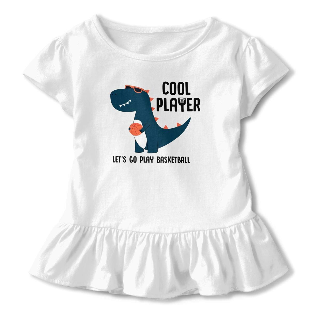 ZP-CCYF Cool Dinosaur Player Toddler Baby Girl Ruffle Short Sleeve T-Shirt Cute Cotton T Shirts