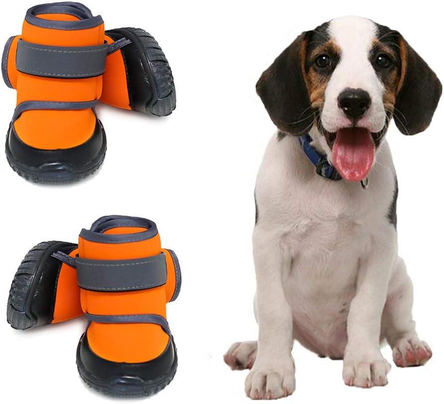 4 piezas de calzado deportivo para perros impermeables y lindos, con materiales blandos,suelas antideslizantes y resistentes de color naranja